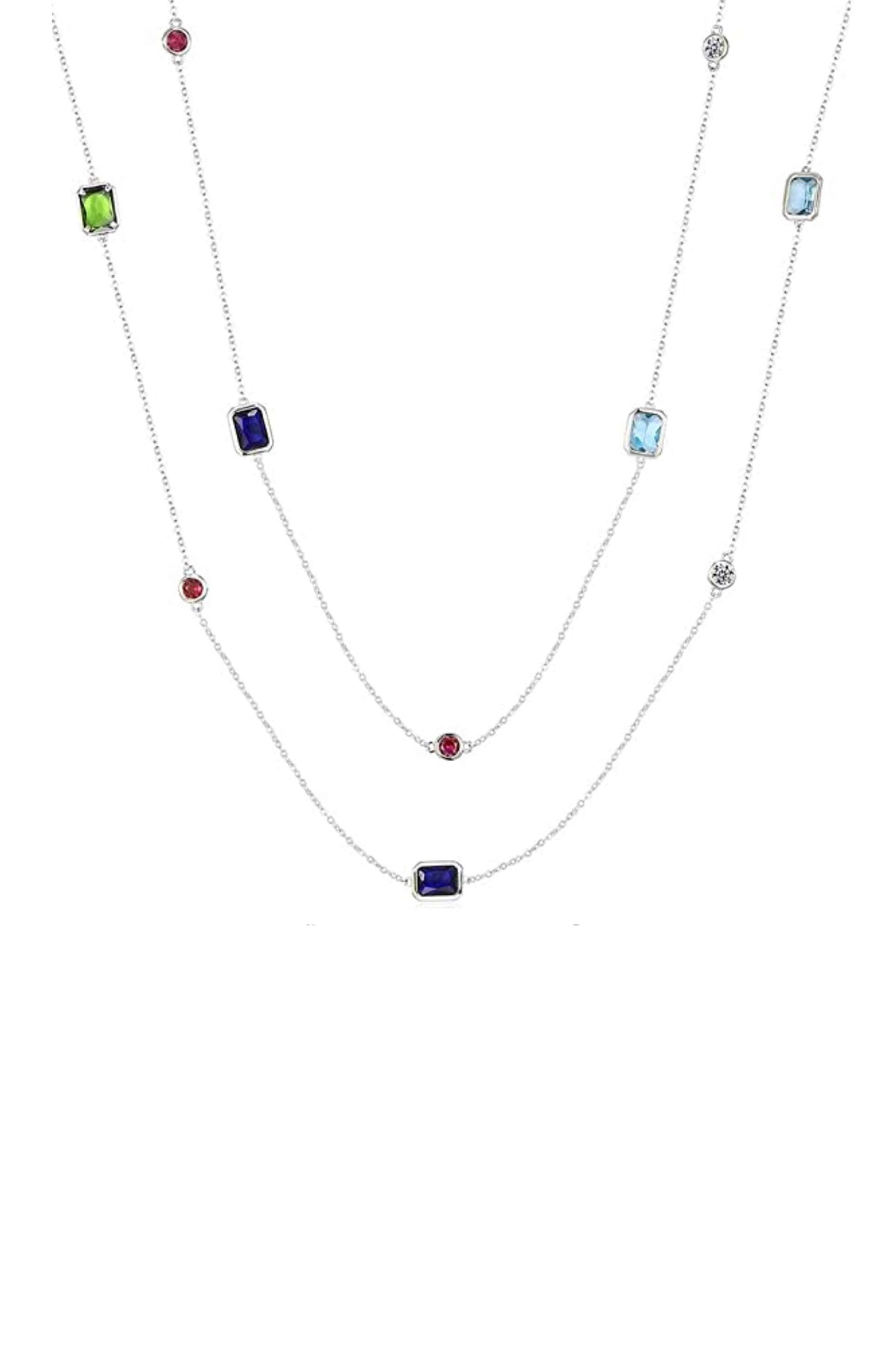Silver Emerald Cut And Round Multi Color Long Necklace