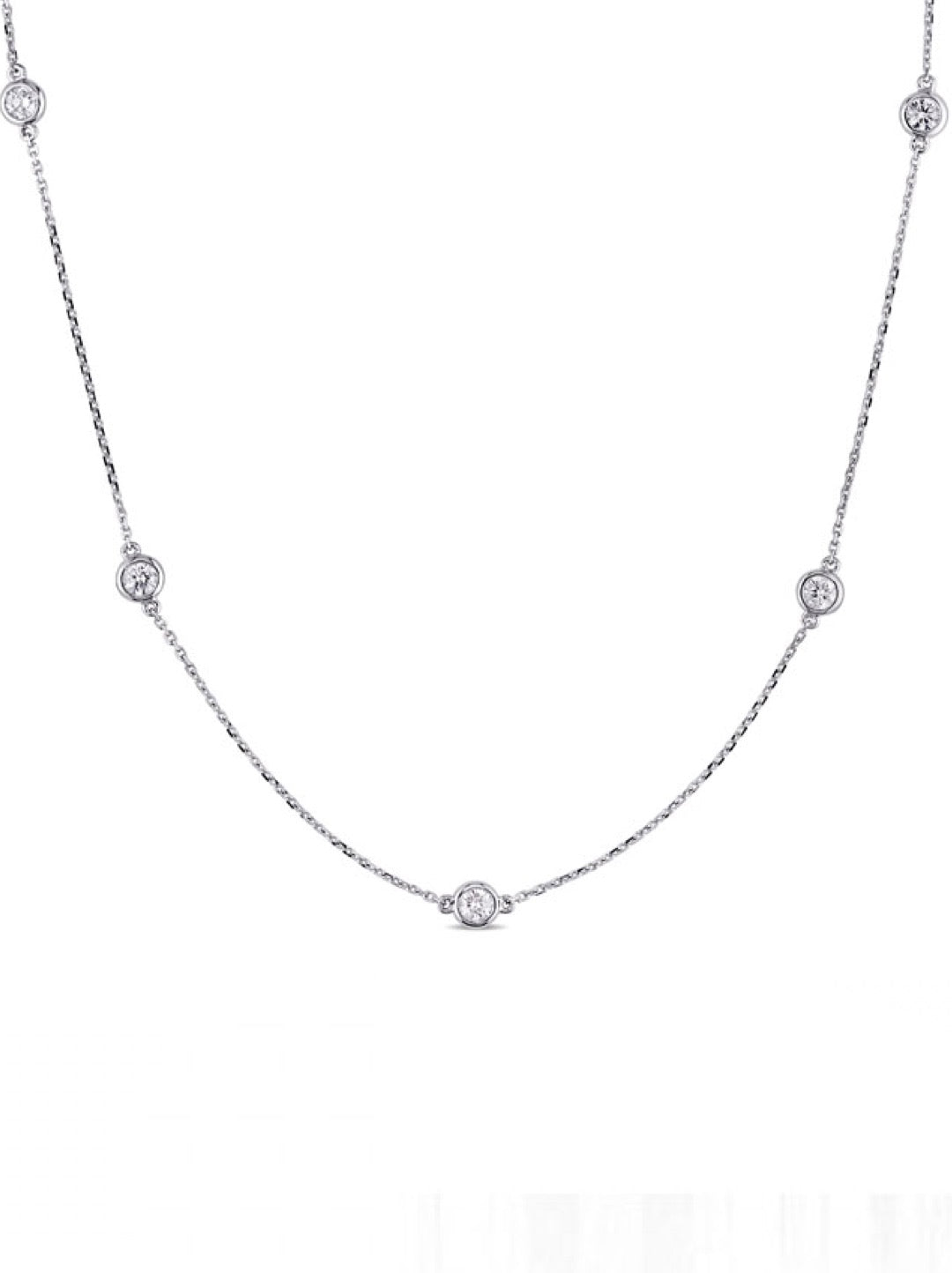 Silver Bezel Set Multi CZ Necklace