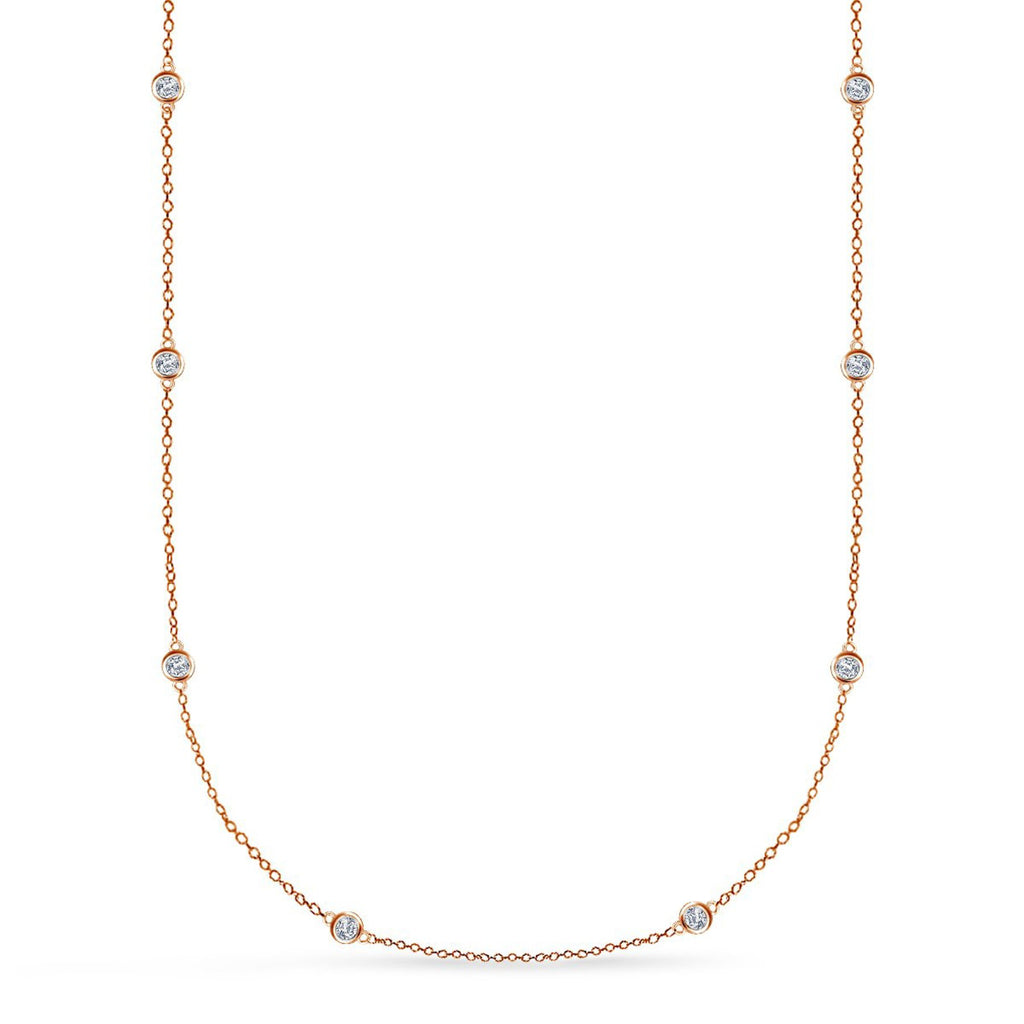 18K Rose Gold Plated Station Long Necklace