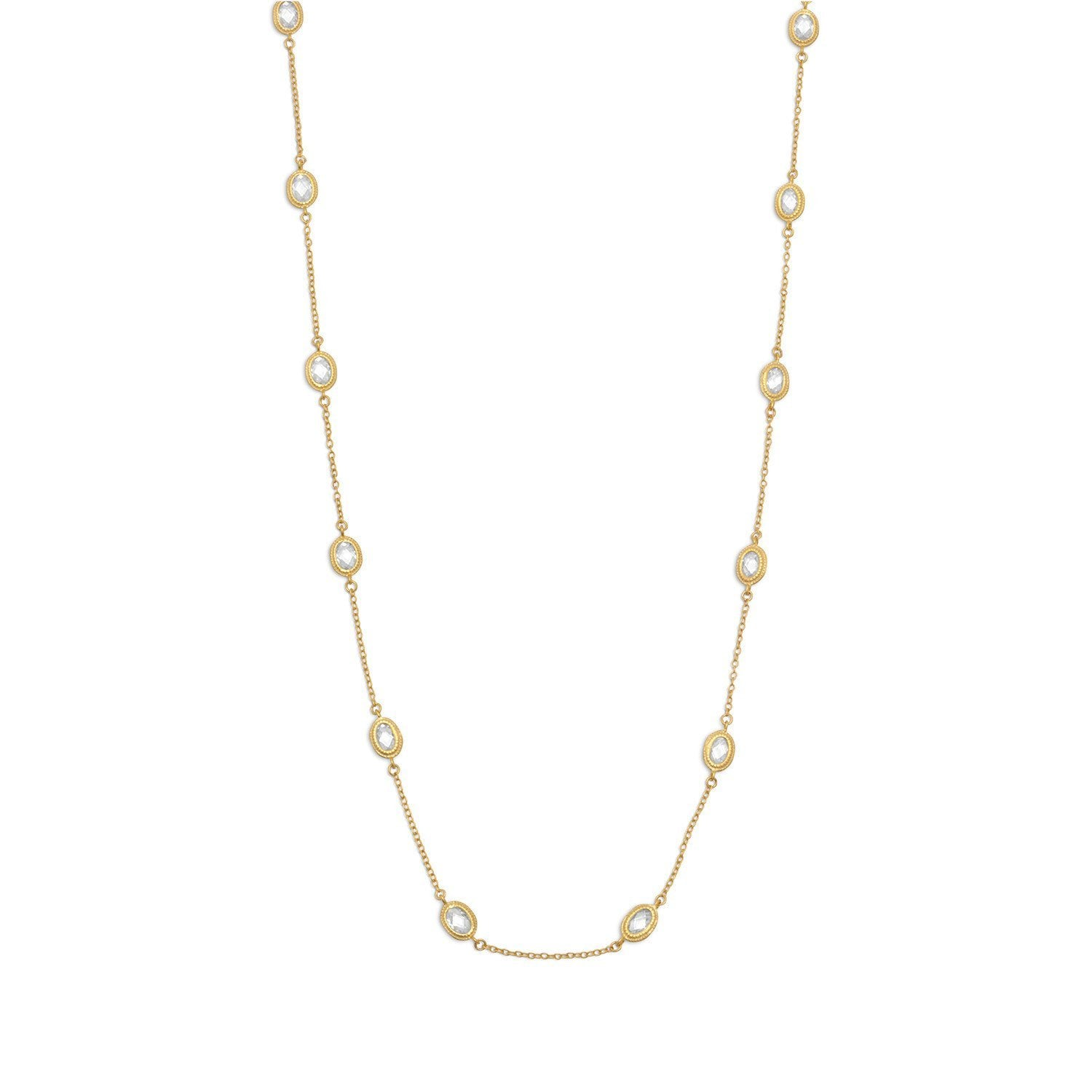18k Gold Oval Cz Long Necklace