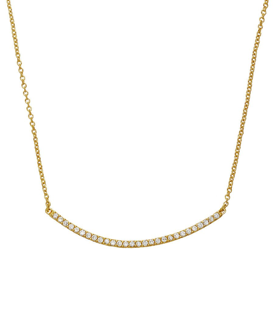 18K Gold Cz Embelished Bar Necklace