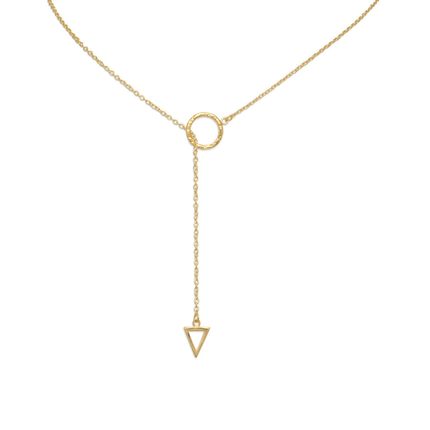 18k Gold Triangle & Circle Ring Lariat Necklace