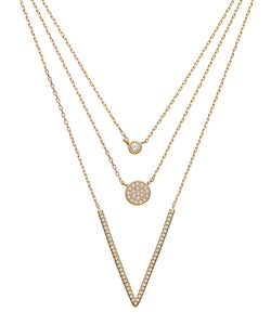 18K Gold Multi Layer Cz Necklace