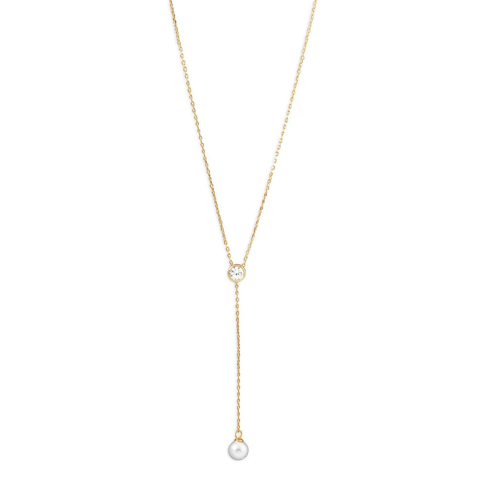 18K Gold Cz & Pearl Drop Necklace