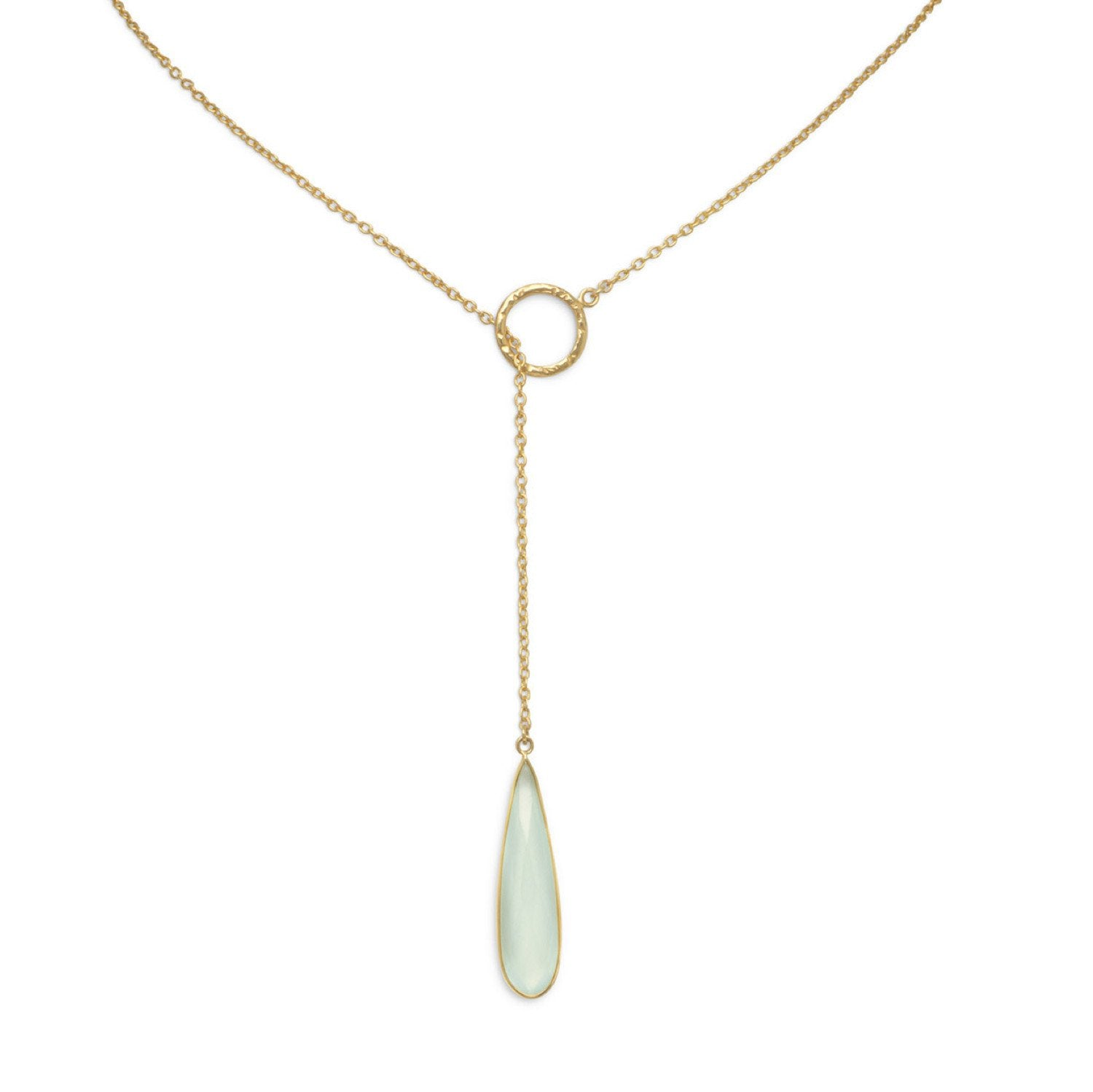 18K Gold Chalecedony Pear Drop Lariat Necklace