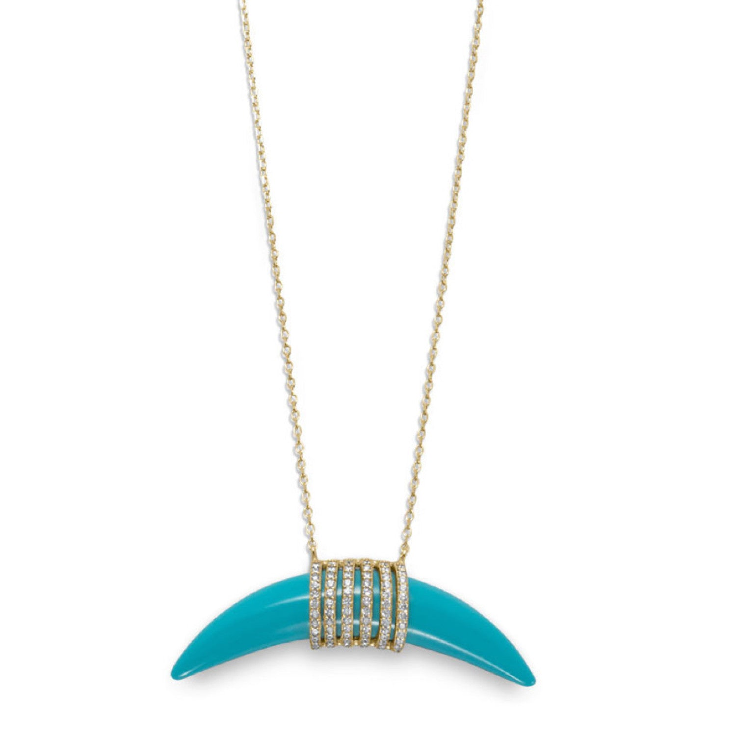 18k Gold Plated Turquoise Horn & Cz Necklace