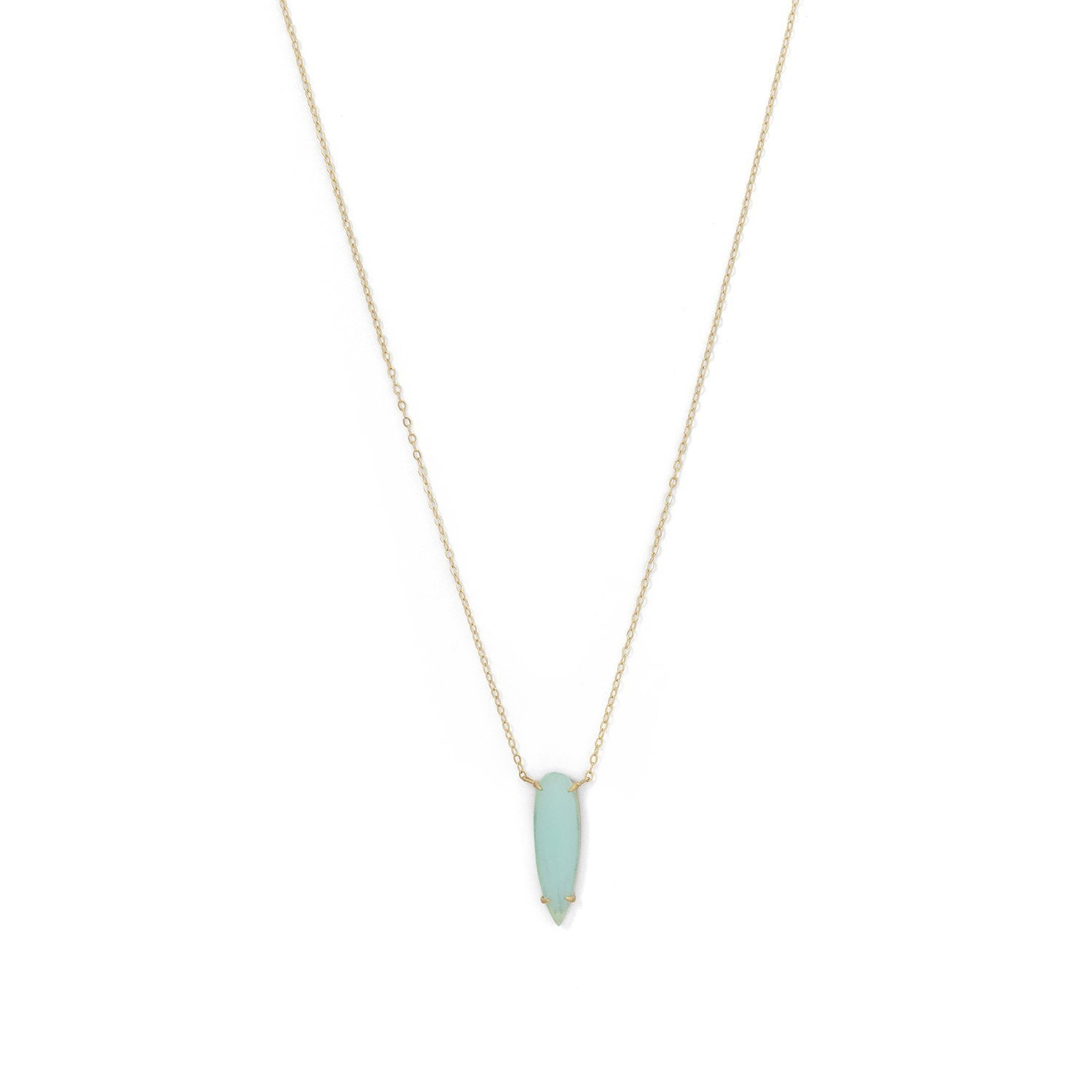 18k Gold Prong set Sea green Necklace