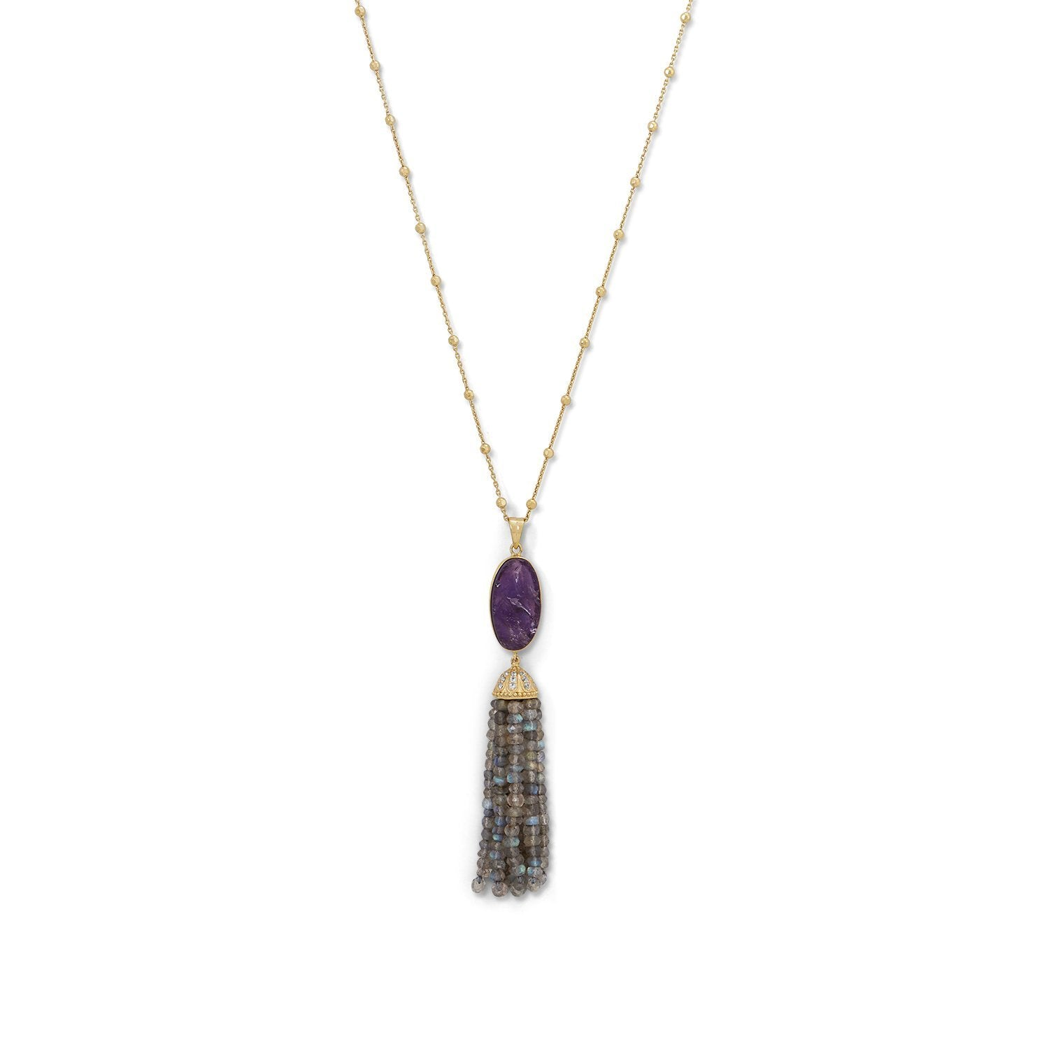 18K Gold Amethyst & Labradorite Tassel Necklace