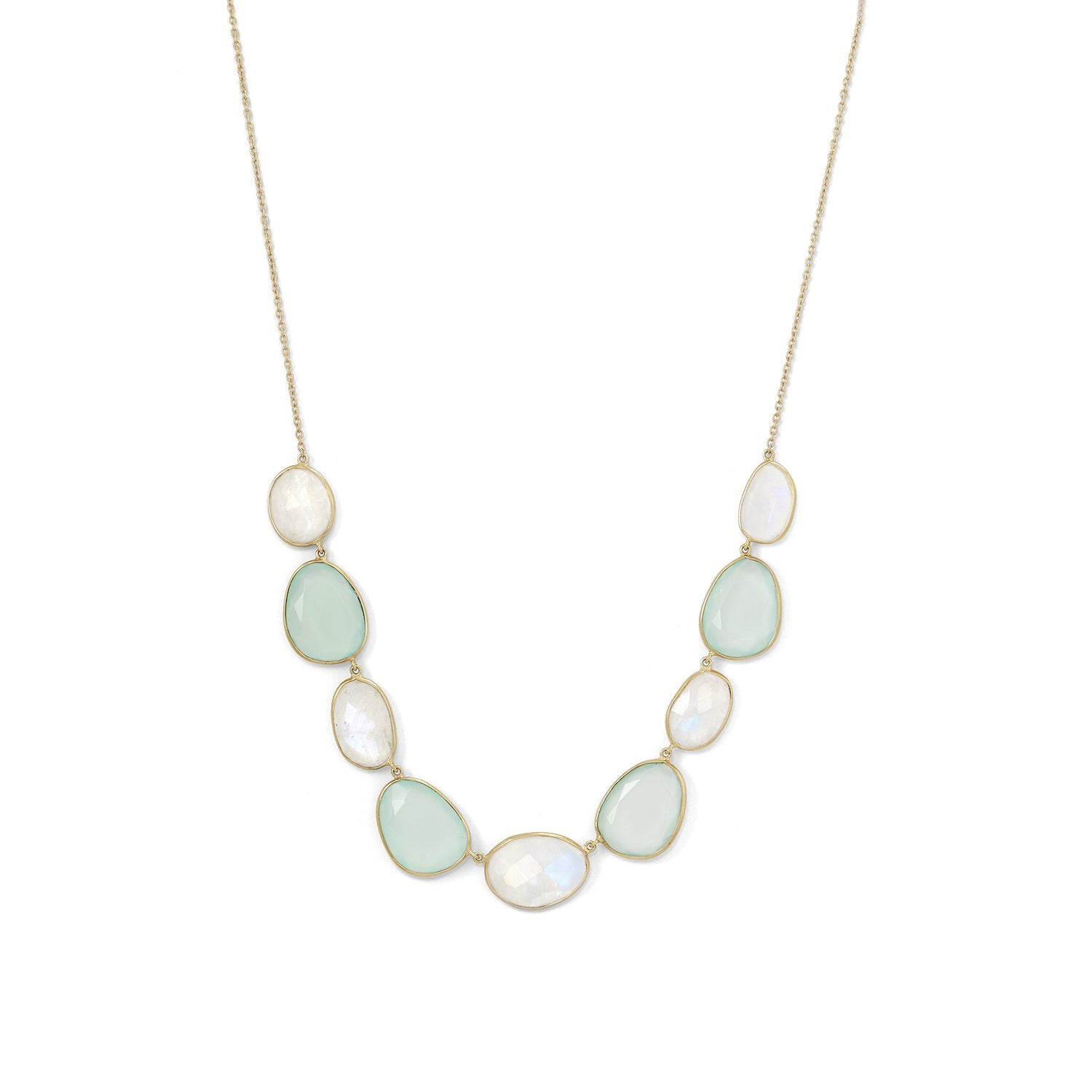 18k Gold Moonstone & Chalcedony Necklace