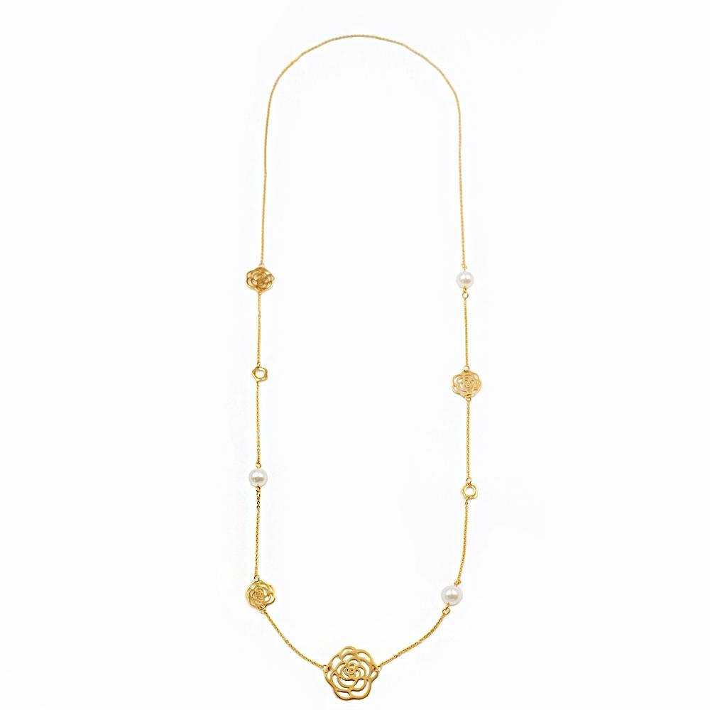 18K gold Multi Flower & Pearl Necklace
