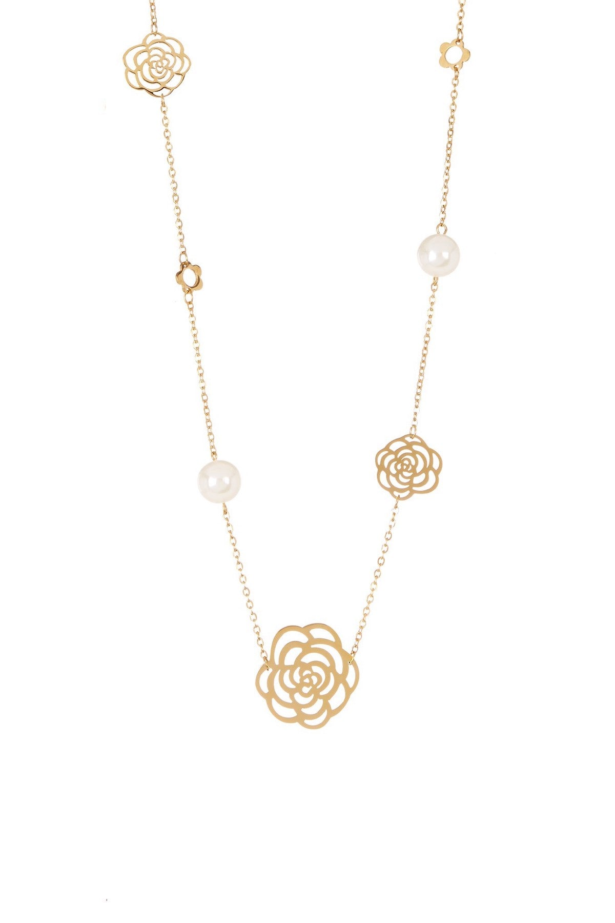 18K Gold Plated Cut-out Rose & Pearl Long Necklace