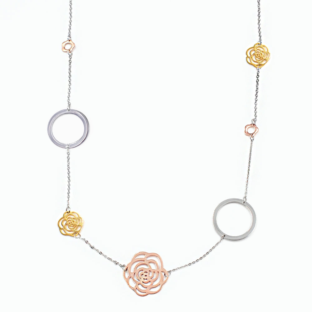 Multi Tri Color Rose Multi Link Necklace