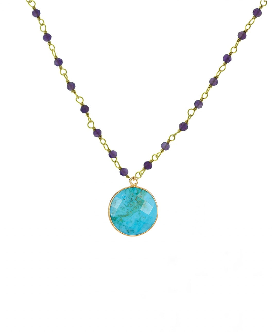 18k Gold Amethyst & Turquoise Drop Necklace