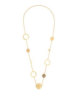 18K Gold Multi Rose & Clover Necklace