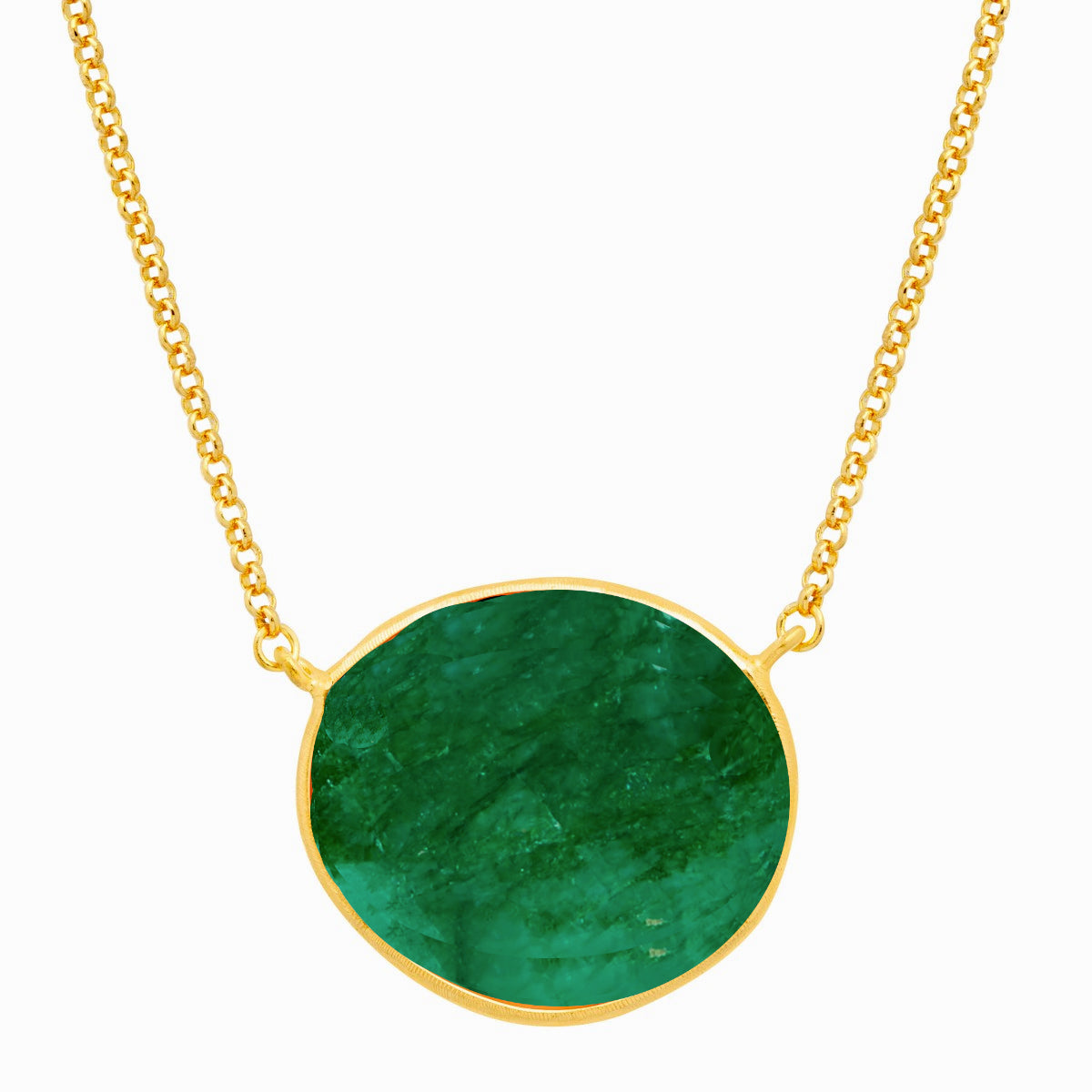 18k Gold Plated Emerald Bezel Necklace