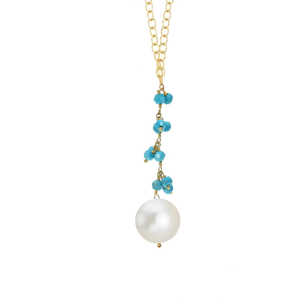 18k Gold Turquoise & Pearl Drop Necklace