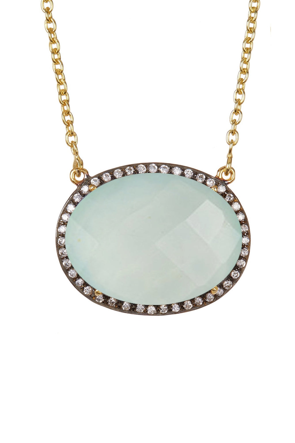 18k Gold Plated Sea Green Chalcedony & Cz Oval Necklace