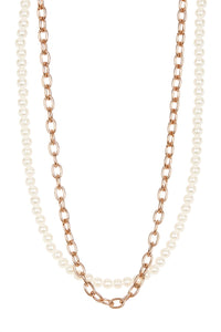 18k Rose Gold & Pearl Layered Necklace