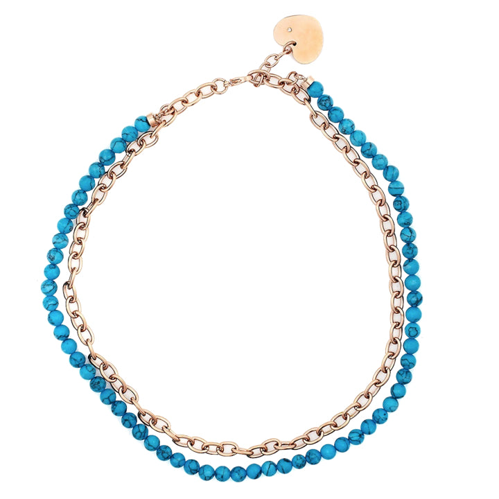 18K Rose Gold Plated Turquoise & Link Necklace