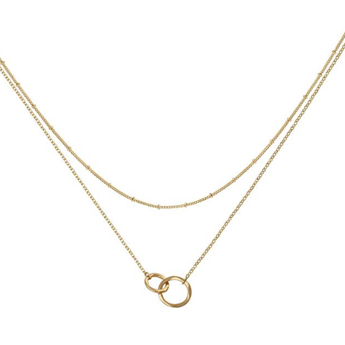 18K Gold Double Ring Layer Necklace