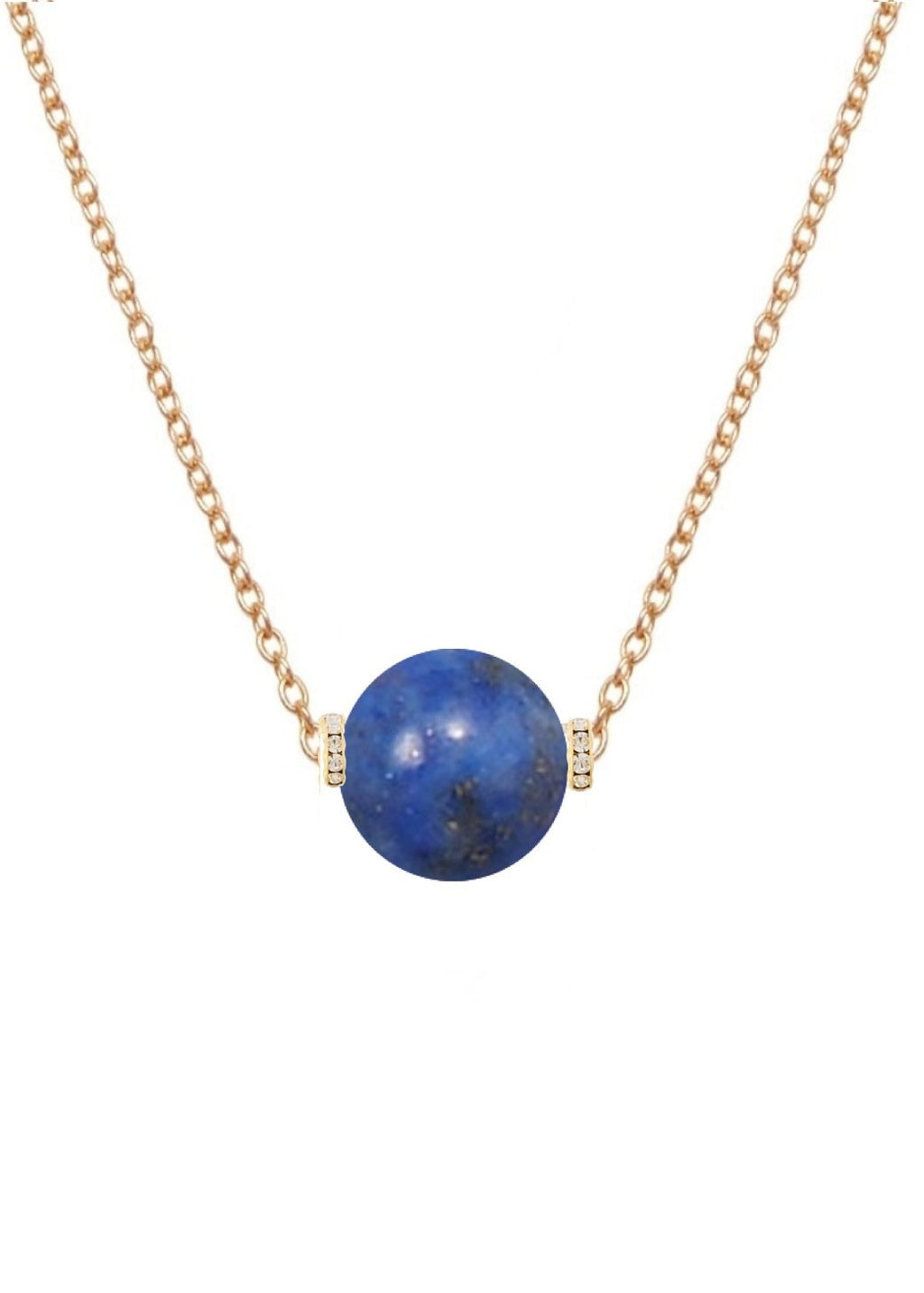 18k Gold Lapis Embelished Solitaire Necklace
