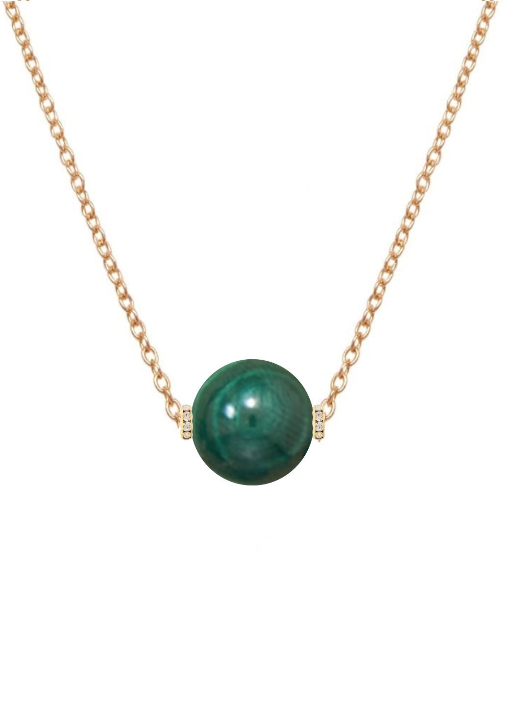18k Gold Malachite Embelished Solitaire Necklace