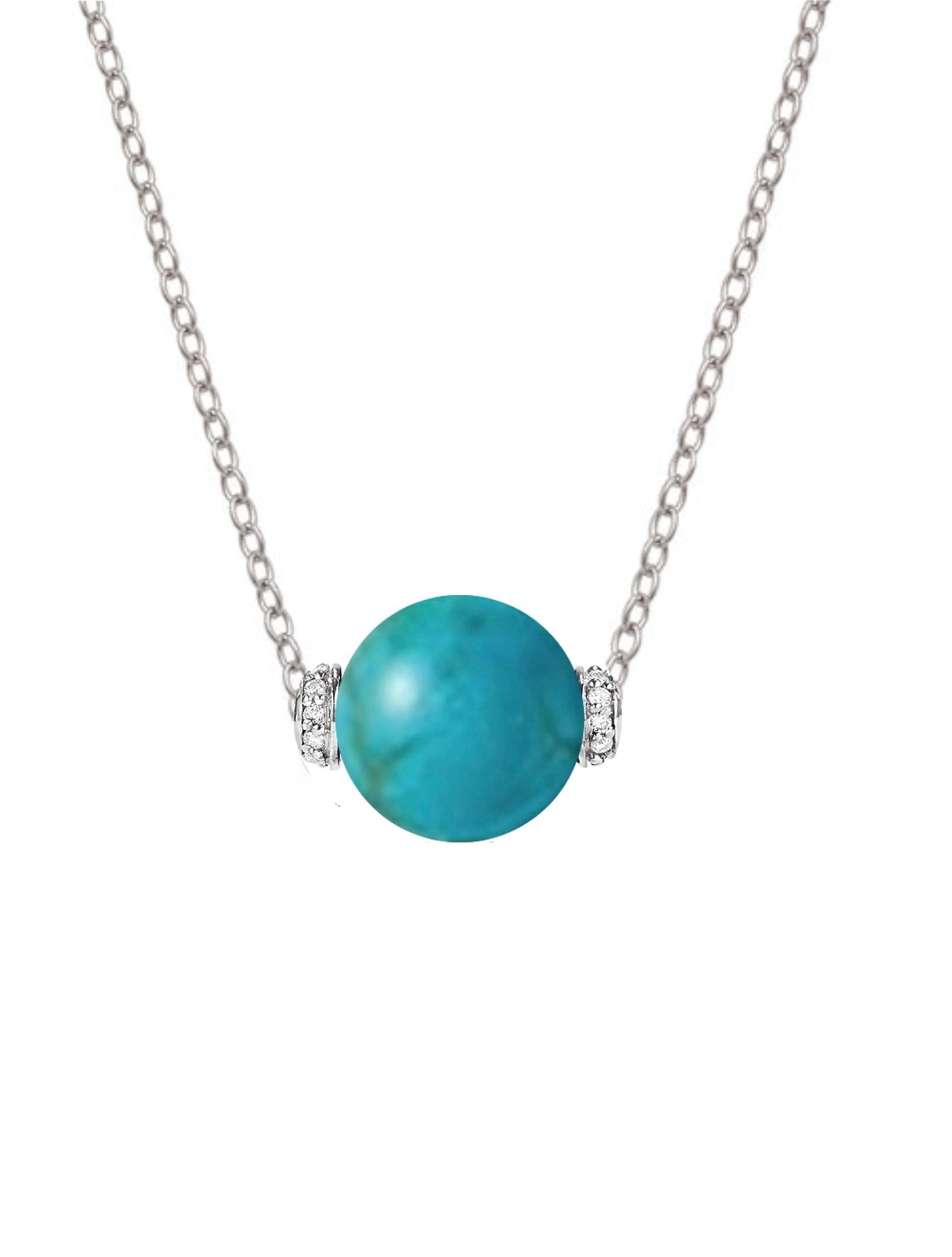 Sterling Silver Turquoise & Cz Necklace
