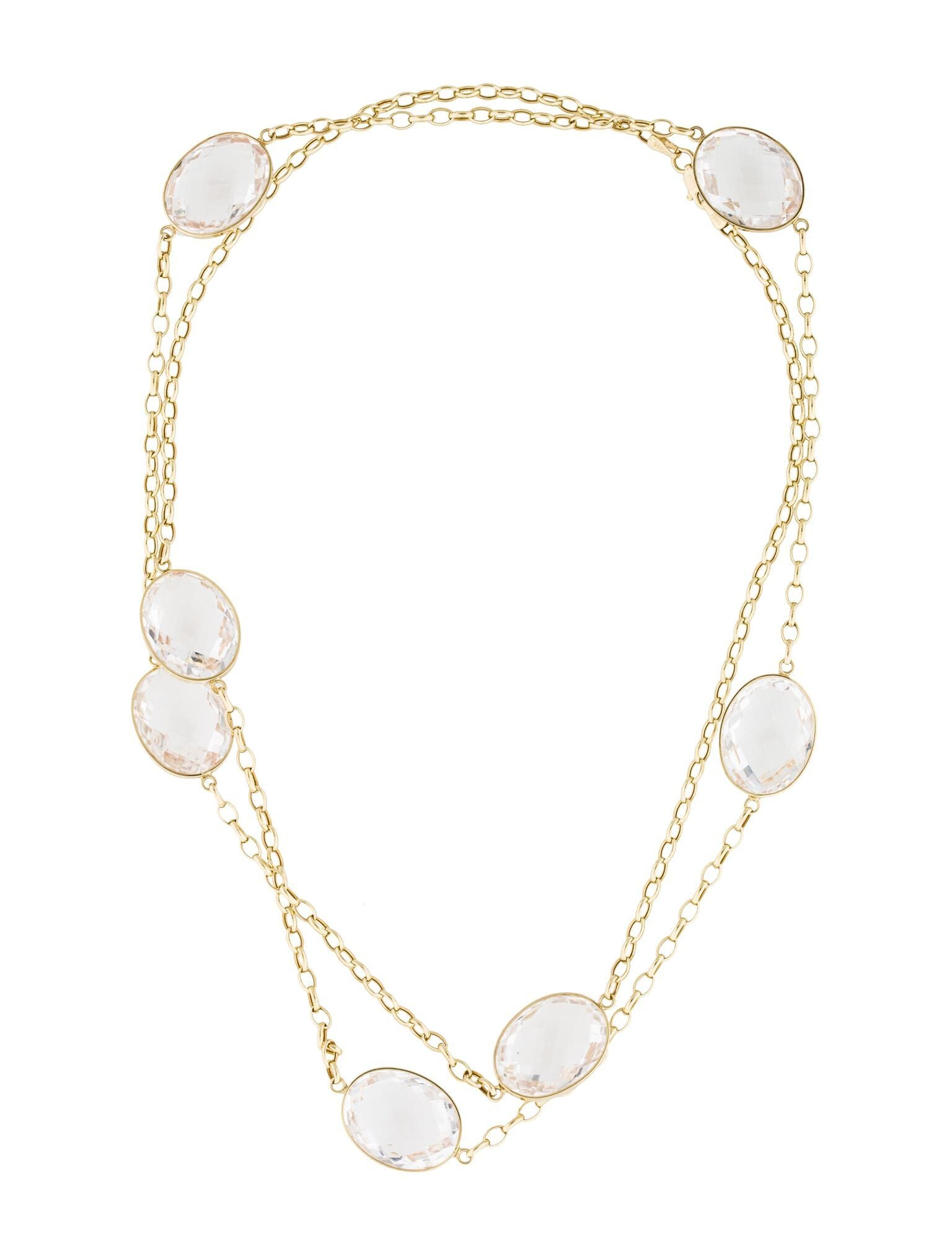18k Gold Clear Quartz Long Necklace