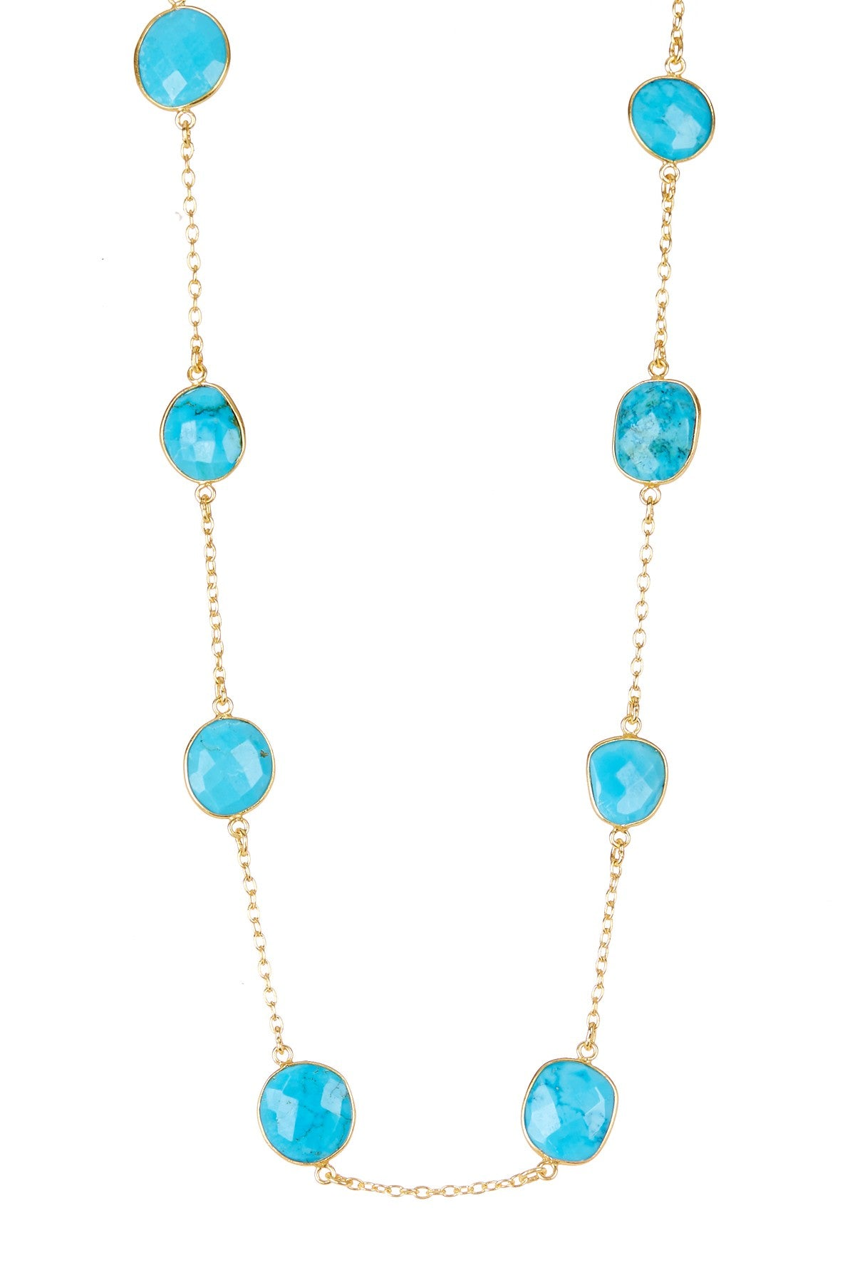 18K Gold Turquoise Station Necklace