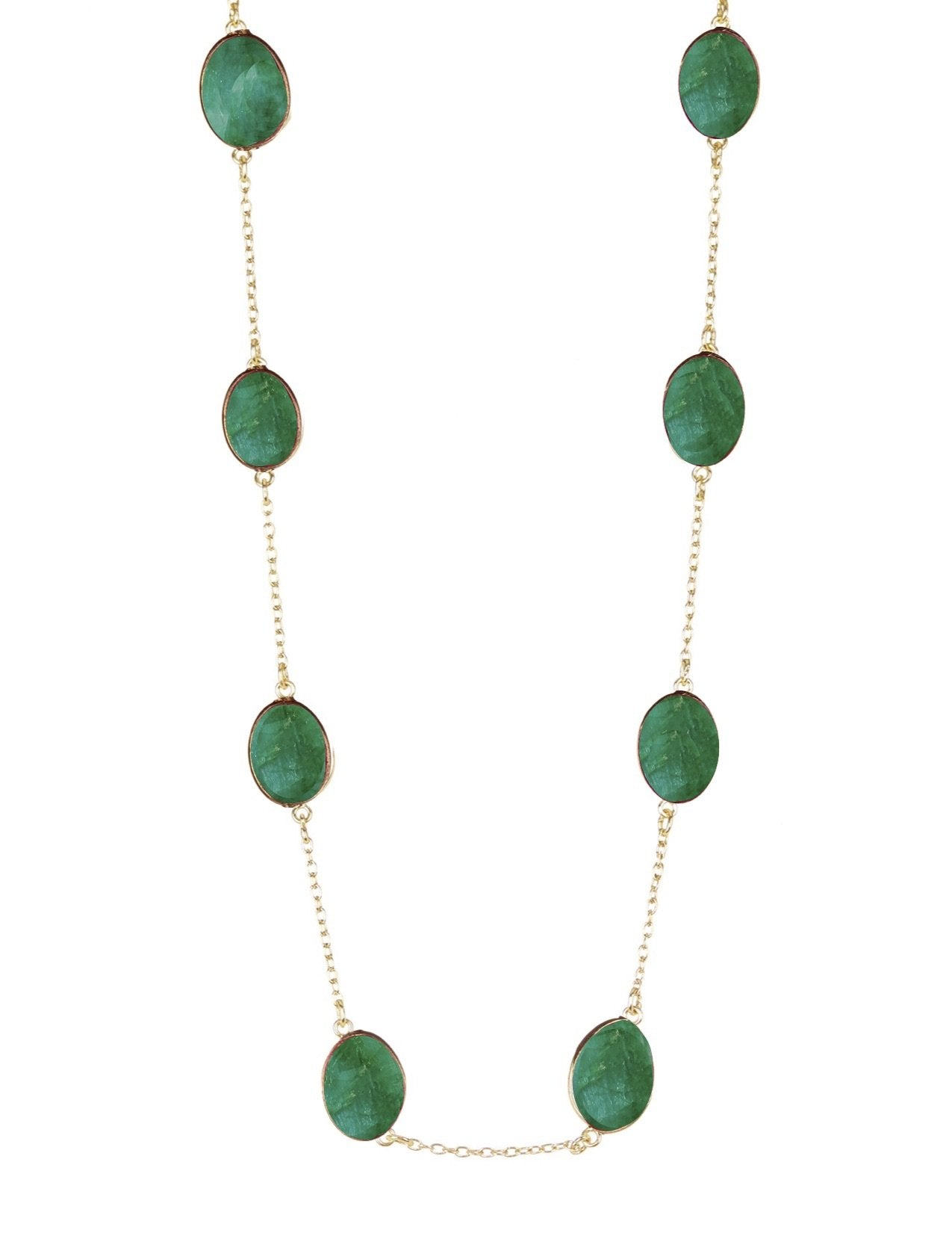 18K Gold Emerald Station Necklace