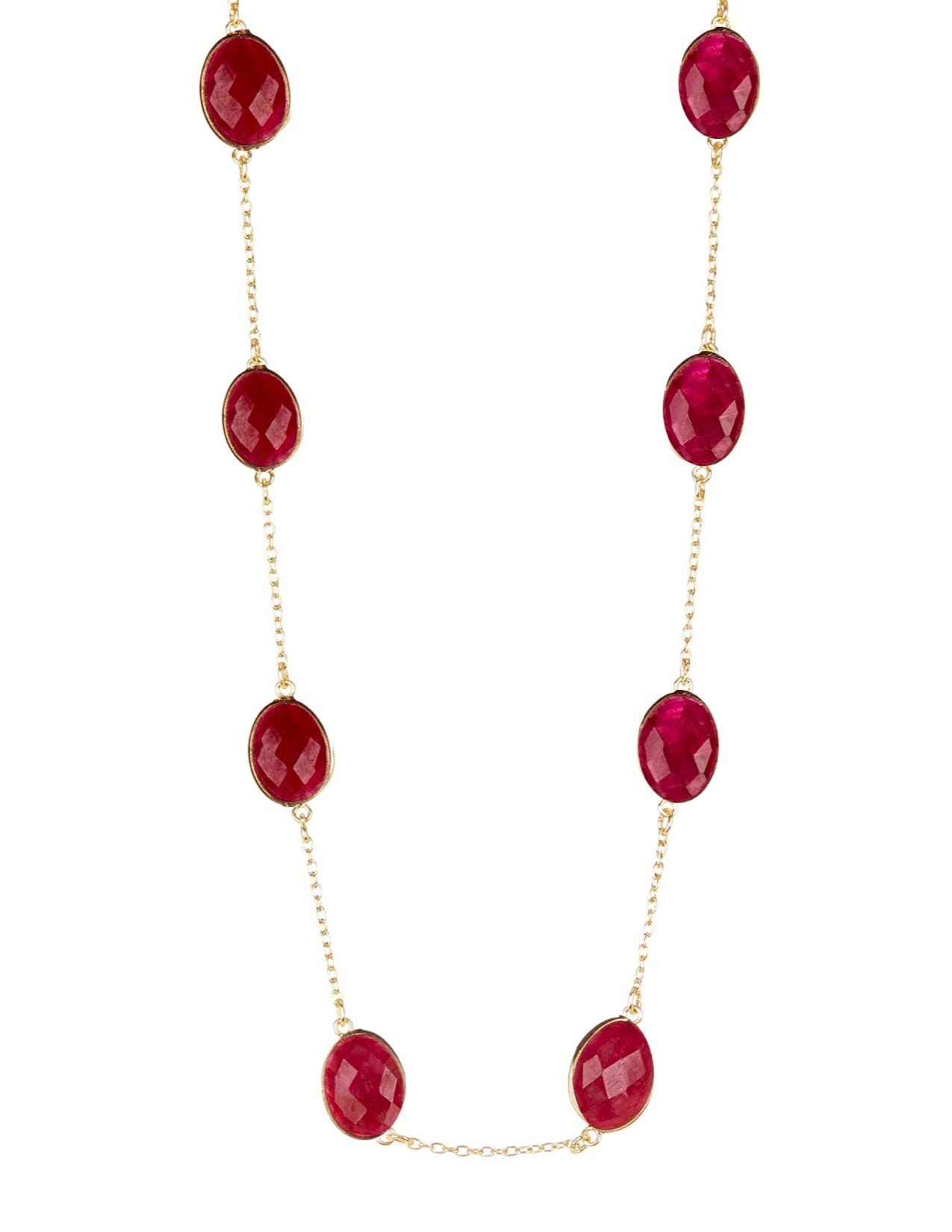 18k Gold Plated Ruby Station Long Necklace