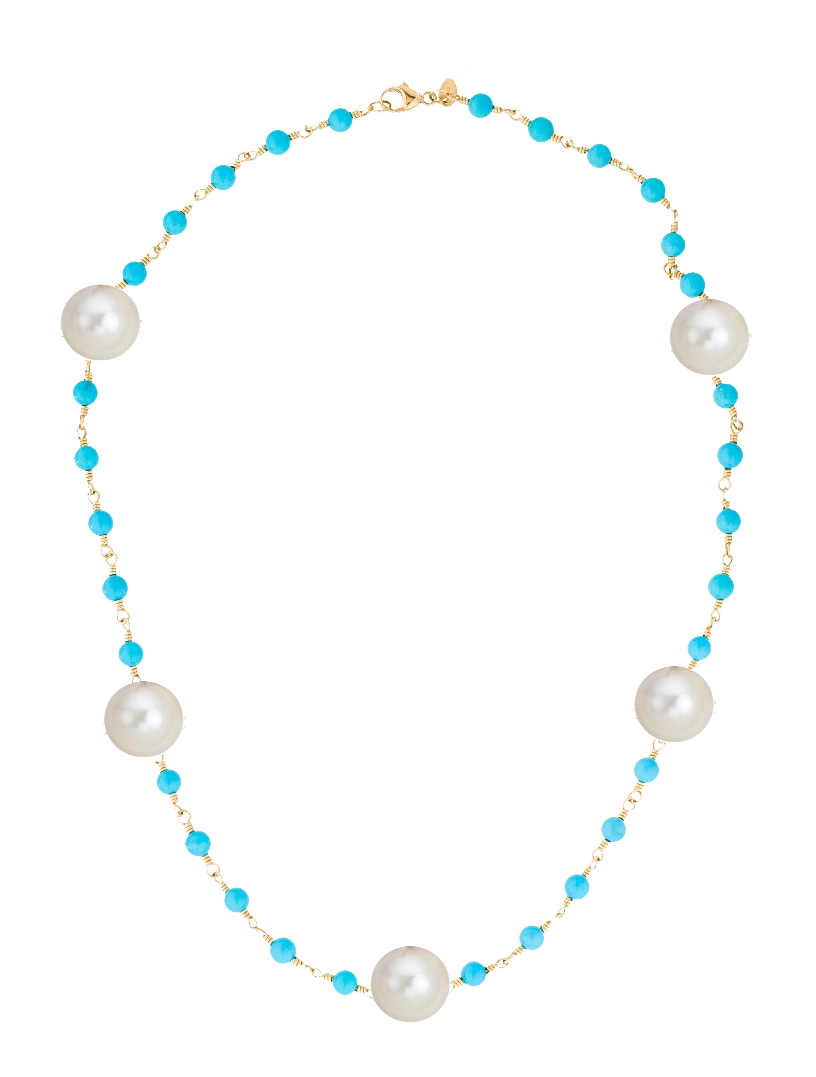 18K Gold Turquoise & Pearl Necklace