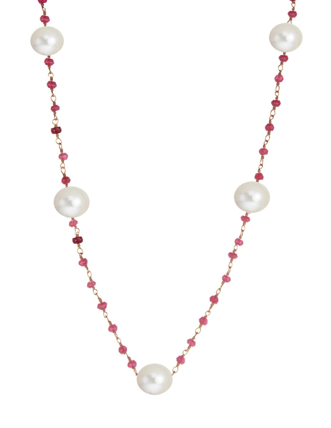 18k Gold Plated Ruby & Pearl Station Necklace