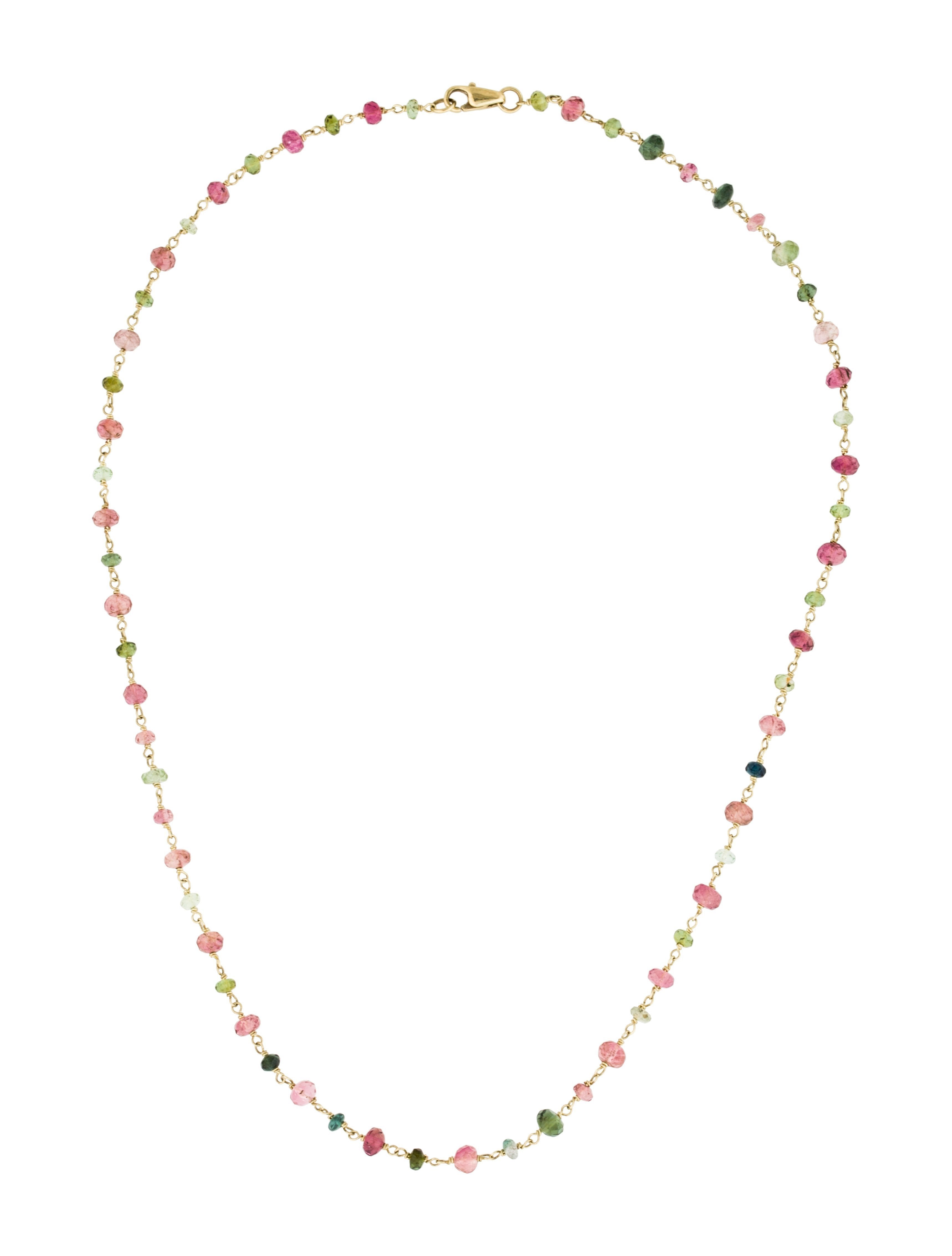18K Gold Multi Tourmaline Necklace