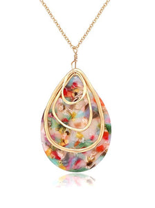 18K Gold Multi color Shell Pear Pendant Necklace