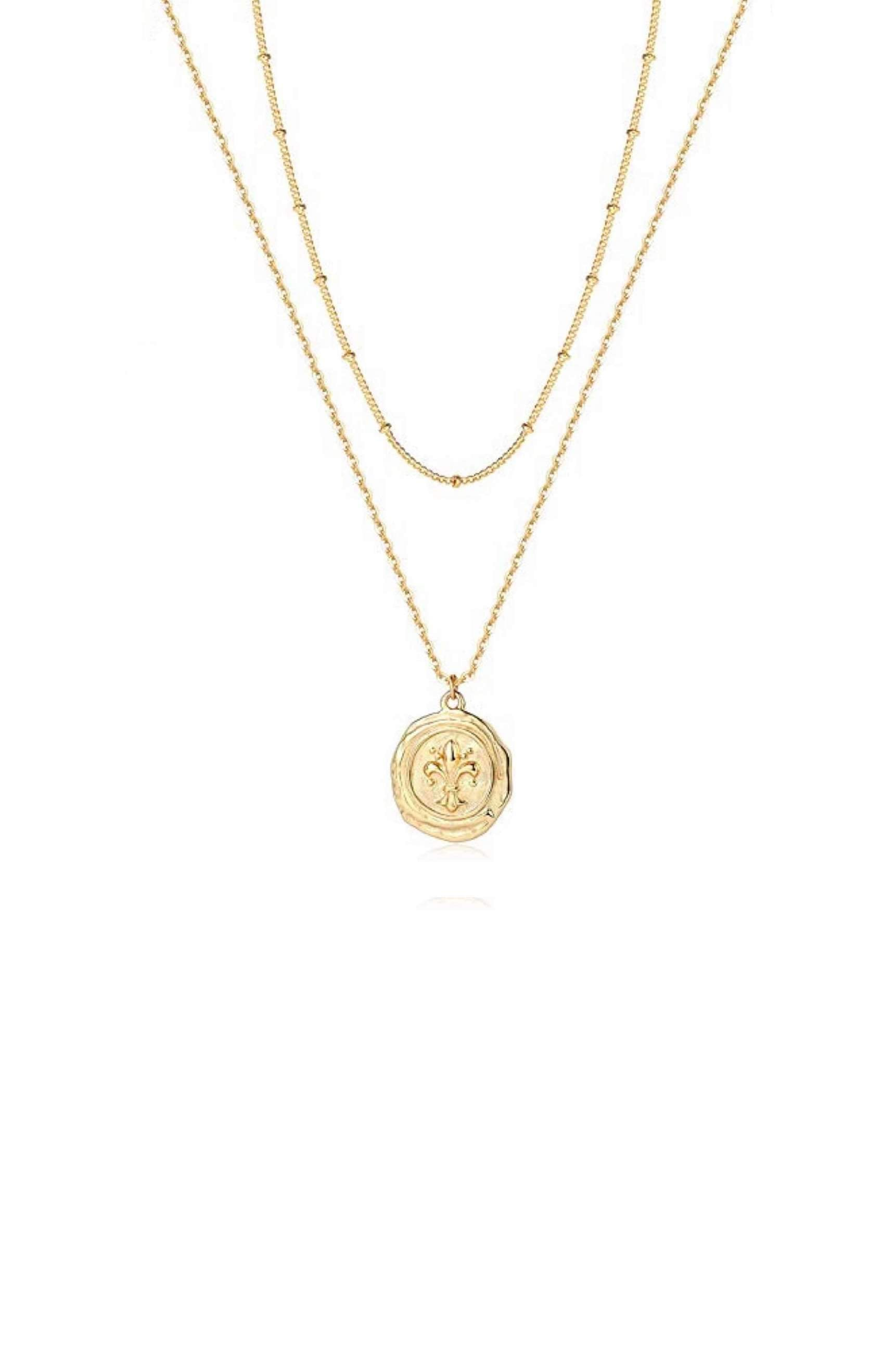 18K Gold Double Layer Motif Necklace