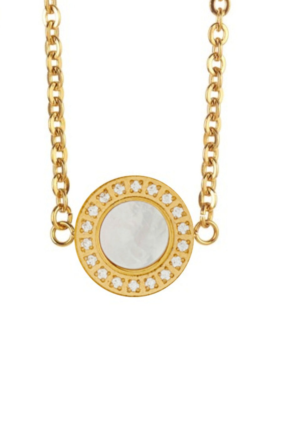 18K Gold Plated Mother of Pearl and Cz Disc Necklace