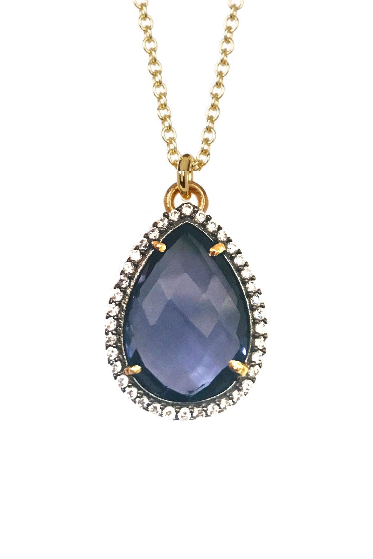 18K Gold Blue Quartz Cz Pear Drop Necklace