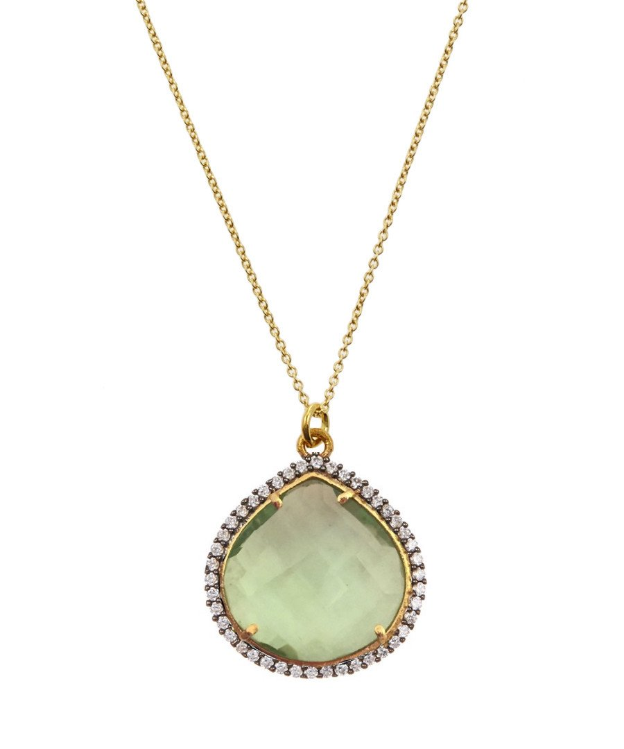 18K Gold Green Onyx Cz Pear Drop Necklace