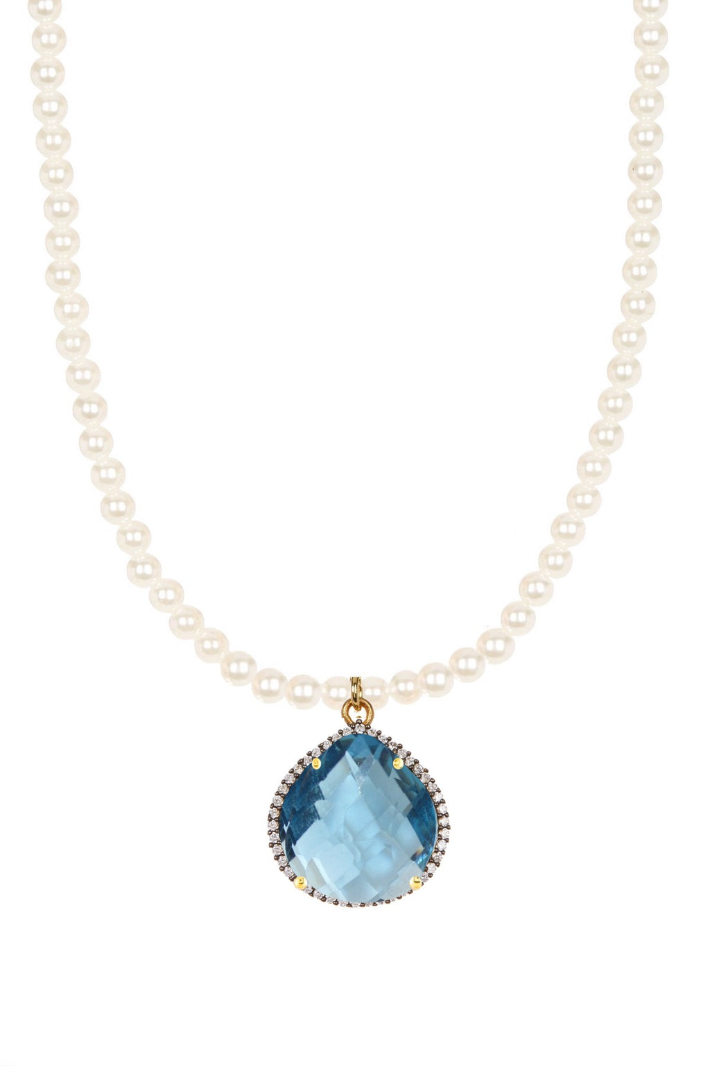 18k Gold Blue Quartz Embelished Pear Drop Pearl Necklace