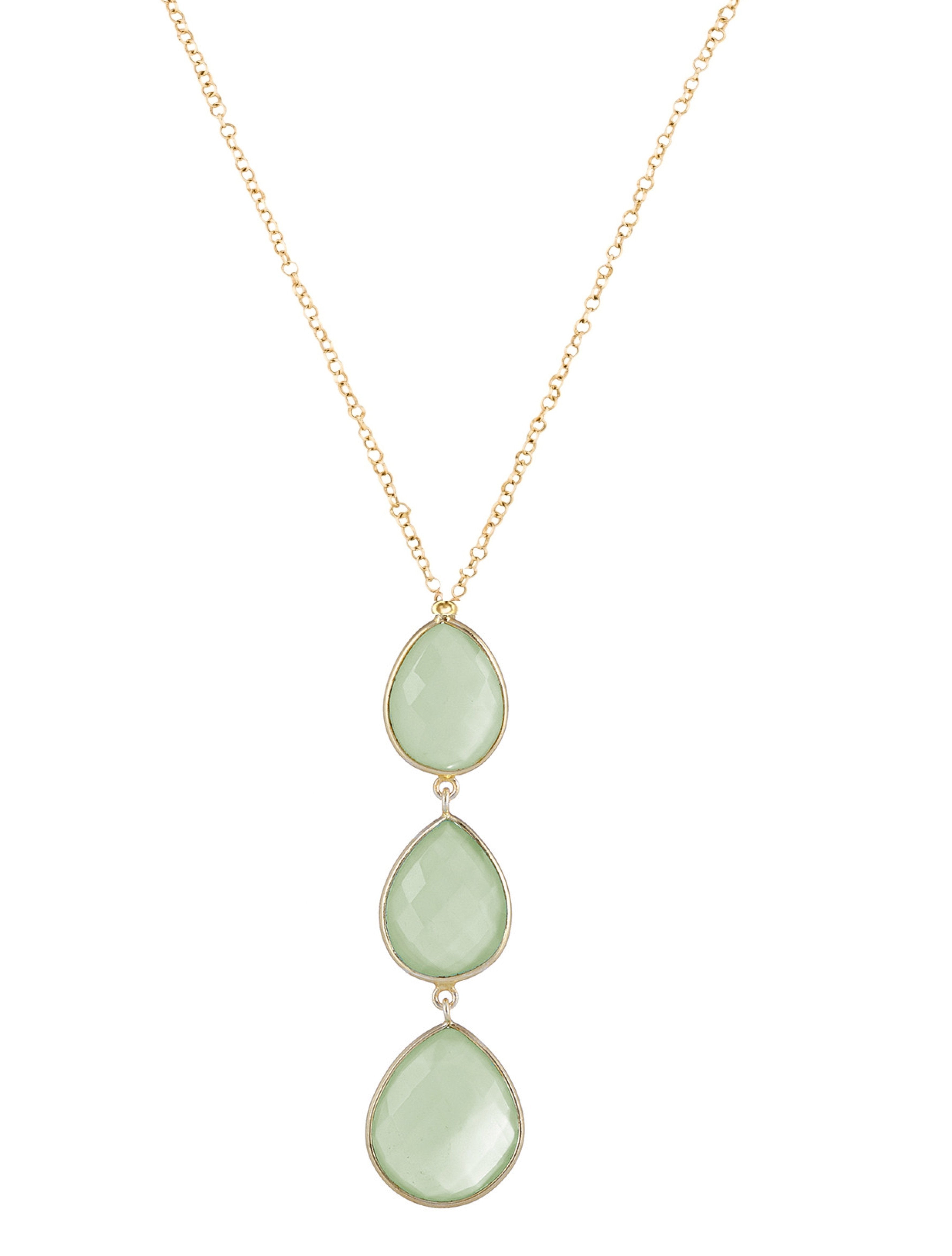 18K Gold Chalcedony Multi Pear Drop Necklace