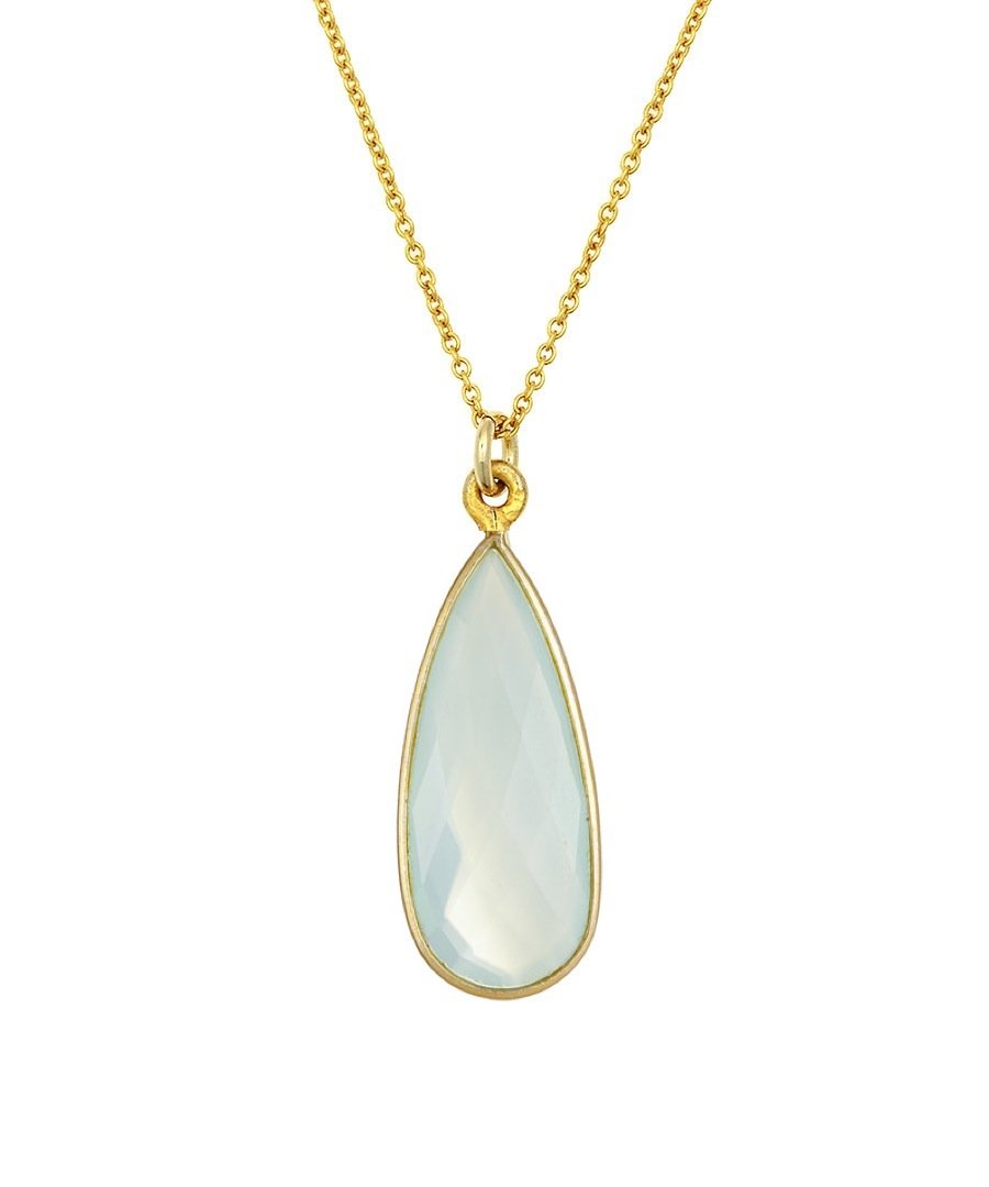 18K Chalcedony Pear Drop Pendant Necklace
