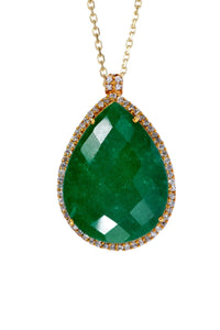 18K Gold Emerald Embelished Pear Drop Necklace