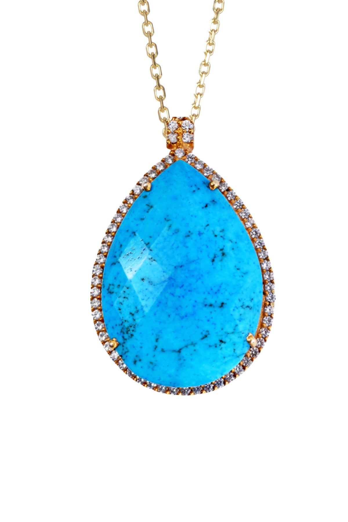 18k Gold Turquoise Embelished Pear Drop Necklace