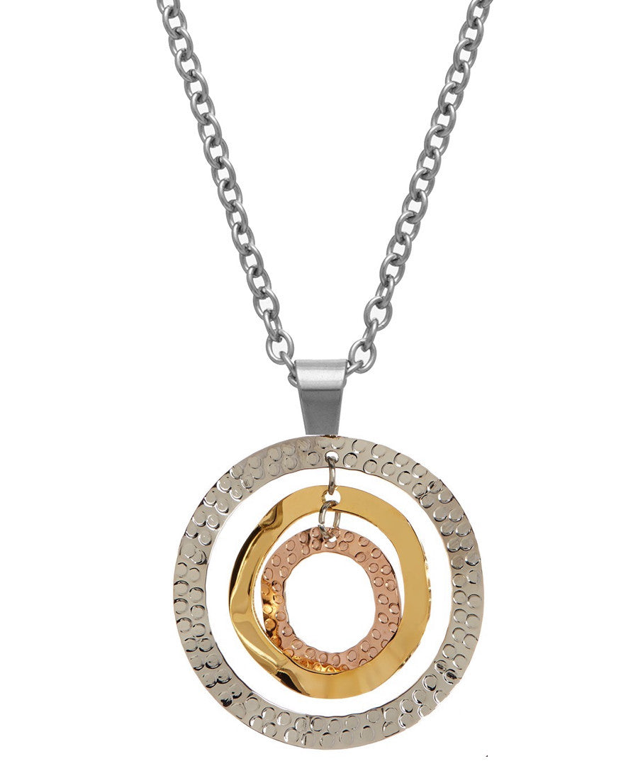 Tri color hammered disc necklace