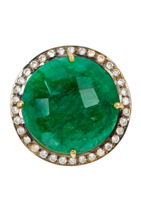 18k Gold Plated Emerald & Cz Disc Ring