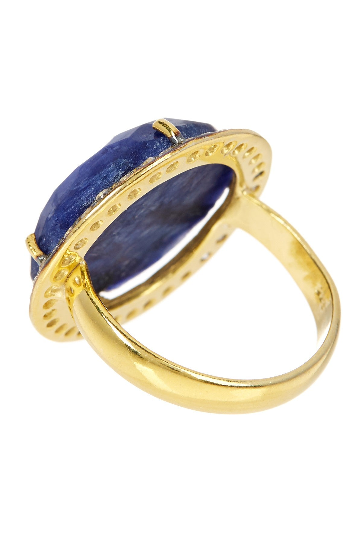 18k Gold Plated Sapphire & Cz Disc Ring