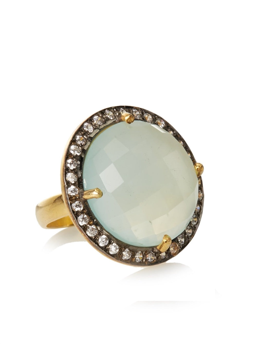 18k Gold Plated Sea Green Chalcedony & Cz Disc Ring