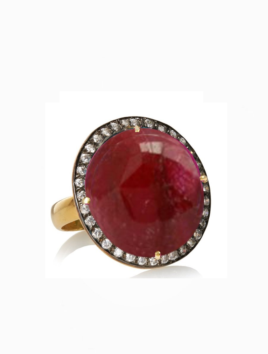 18K Gold Ruby  Cz Statement Ring