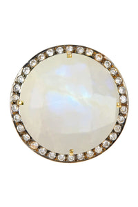 18K Gold Moonstone & Cz Statement Ring